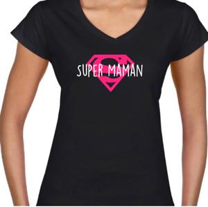 T-Shirt noir Femme Filles Super Maman humour drôle fun Tshirt