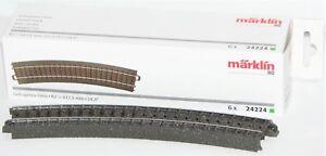 Maerklin-H0-24224-S-C-Gleis-gebogen-R2-437-5-mm-24-3-6-Stueck-NEU-OVP