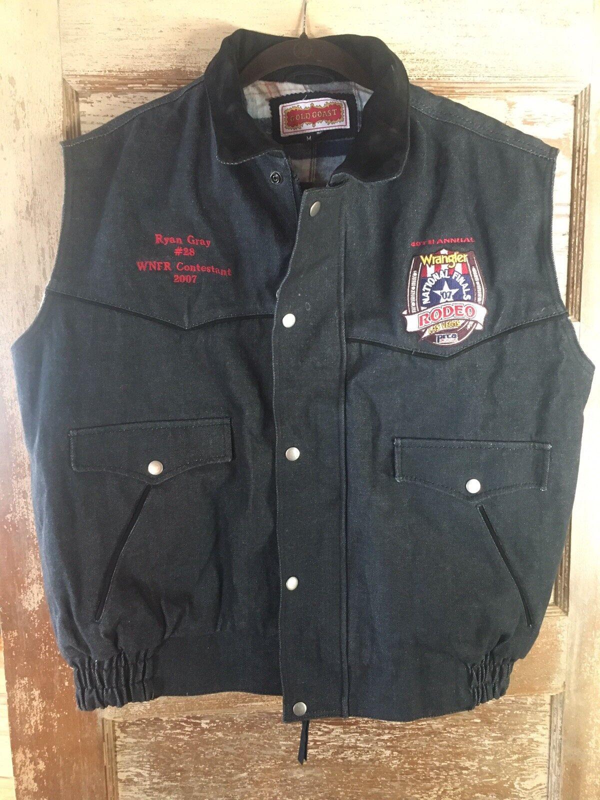 2007 wnfr concursante Tela de de de Jeans Chaleco Bareback Rider Ryan gris PRCA Rodeo NFR Vegas 170385