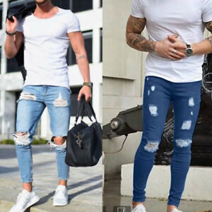 Mens-Ripped-Jeans-Stretchy-Skinny-Slim-Fit-Denim-Pants-Destroyed-Frayed-Trousers