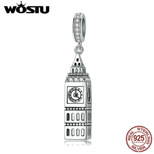 Wostu New 925 Sterling Silver Big Ben Pendant Platinum Plated Charm Bead With CZ