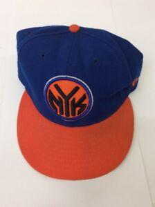 610066d2ff0 New Era NEW YORK KNICKS Fitted 59FIFTY Flat Bill NBA Cap Hat - Blue ...