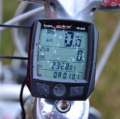 Cycling Bike Bicycle Cycle Computer Odometer Speedometer Waterproof Black