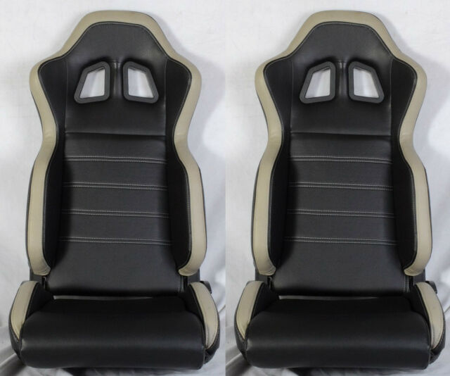 NEW 2 BLACK & GRAY PVC LEATHER RACING SEATS + SLIDER RECLINABLE ALL FORD *
