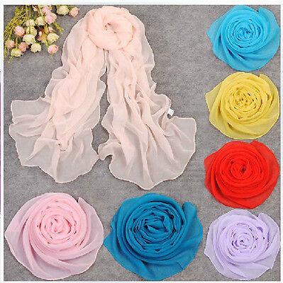 Factory direct sale Women's Fashion Pure Color Wraps Shawl Stole Chiffon Scarf