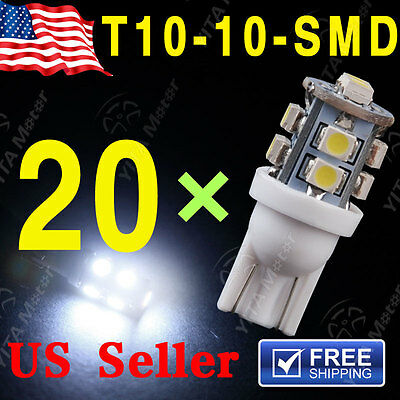 20X 12V T10 White 10 SMD LED Car Side Wedge Light Lamp Bulb 168 194 501 W5W