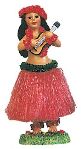 NEW Hawaiian Hawaii Dashboard Hula Doll RED Skirt Dancer Girl w// UKULELE # 40606