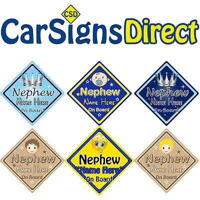No 1 Nephew Baby on Board Car Sign Non Personalised Yellow /& Blue
