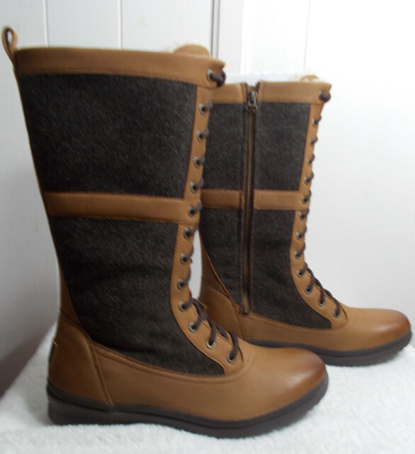 71a4a0cc1c8 UGG Elvia Chestnut Waterproof Leather Tall Womens BOOTS Size US 9.5/uk 8