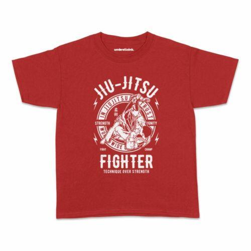 Jiu Jitsu Fighter Kids Tshirt Vintage Fitness Train Build Teens Youth