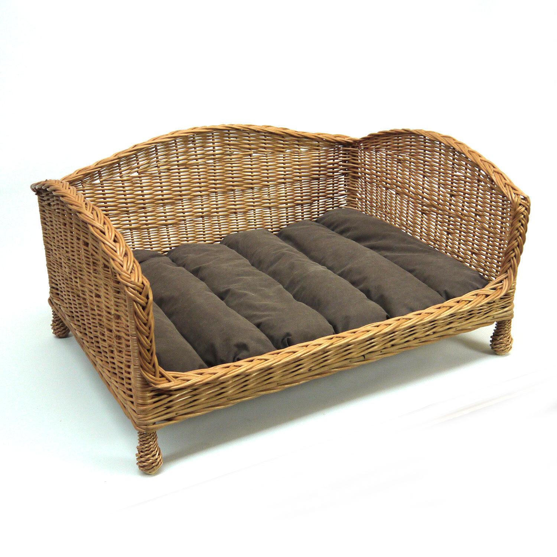 Luxury Medium Größe Wicker Dog Bed Basket Settee with Cushion