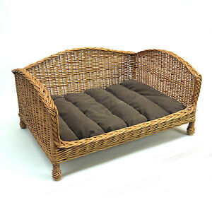 Luxury-Medium-Size-Wicker-Dog-Bed-Basket-Settee-with-Cushion