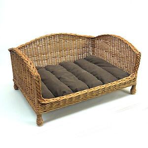 Luxury-Medium-Size-Wicker-Dog-Bed-Basket-Settee-with-Cushion