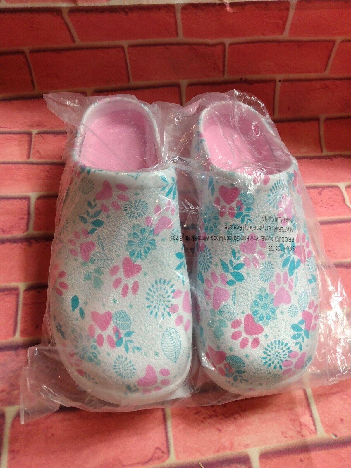 Paw Print Rain Barn Garden Clog Shoes Womens SZ 9 white floral