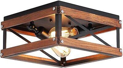 Farmhouse Flush Mount Ceiling Light Fixture Industrial Wood Rustic Black Hallway Ebay