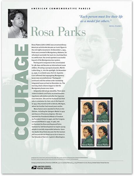 USPS New Rosa Parks Commemorative Stamp Panel