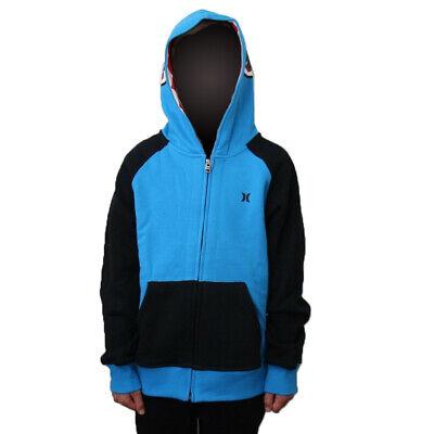 NWT HURLEY Boys  L Boys Navy Blue Fleece Lined LOGO Hoodie School Jacket