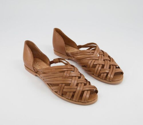 Womens Office Fondly Flats Tan Leather Flats