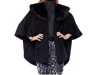 Women-039-s-Winter-Fall-Black-Cape-faux-fur-Wrap-Coat-jacket-poncho-plus-XL1X2X3X4X
