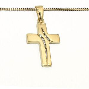 Kinderschmuck Zirkonia Kreuz Anhänger Gold 333 Bicolor