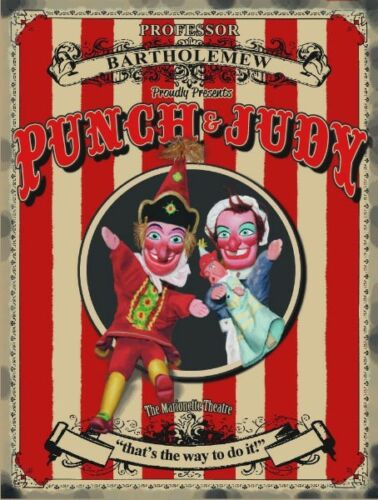 Old Puppets Small Metal Tin Sign Picture Punch /& Judy British Seaside Holiday