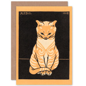 Sitting-Tabby-Cat-Julie-De-Graag-Greetings-Card-With-Envelope