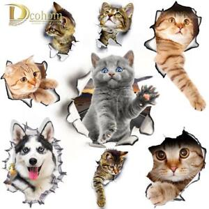 Details About Wall Dog Cat 3d Sticker Bathroom Home Toilet Decal Decor Room Vinyl View Vivid