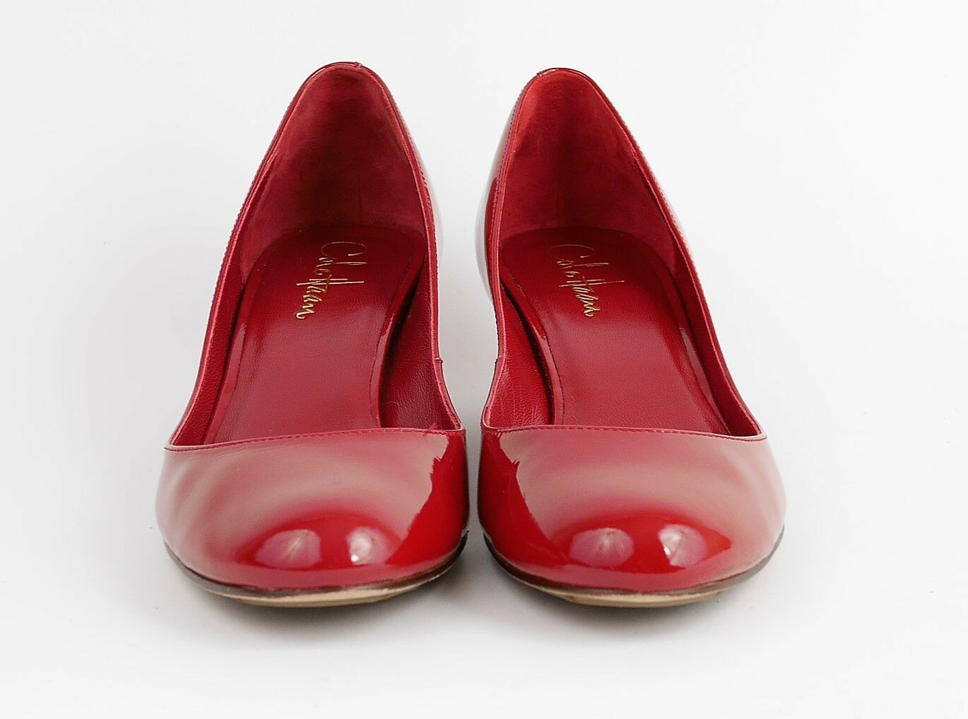 COLE HAAN Women' Women' Women' 6.5 - RED PATENT LEATHER CLOSED TOE WEDGE HIGH HEELS LOW PUMPS 79c024