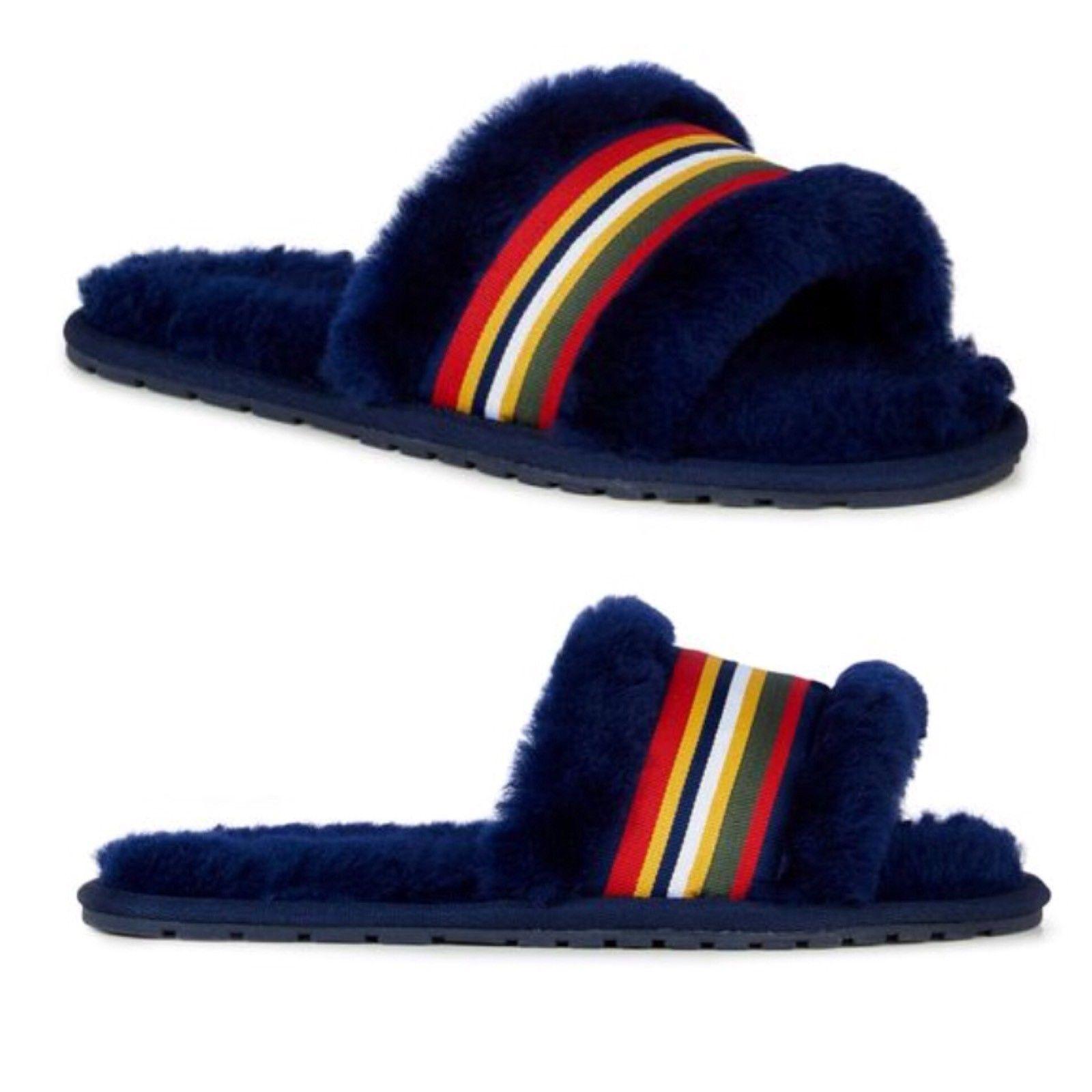 EMU Australia Wrenlette Slide Slipper Sandals Navy Blue NWT women's 8