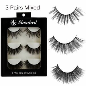 SKONHED-3Pairs-3D-Mink-Hair-False-Eyelashes-Wispy-Thick-Long-Extension-Lashes