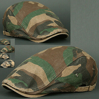 Newsboy Beret Flat Cap Hat DMO KHAKI Cabbie Gatsby Camo Hunting Military Army