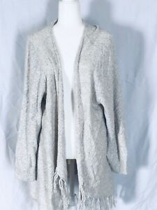 Details about Sonoma Women's 3X Cardigan Ivory Grey Knit Open Front Fringe Long Cotton Acrylic