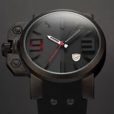 SHARK Army Military Red 3D Dial Black Steel Men's Sport Rubber Army Quartz Watch
