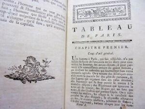 1785. Mercier.Tableau de Paris. Abus, les excès, et les vices..