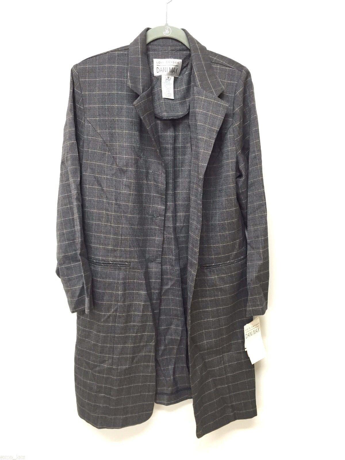 NWT Dani Max Womens Charcoal Coat Size 12