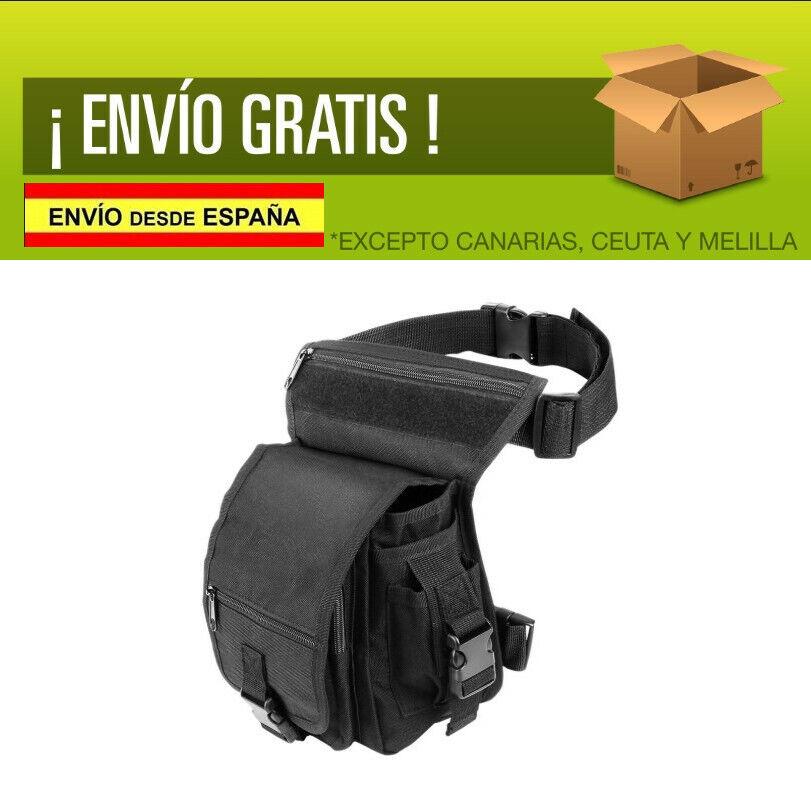 Bolsa de Pierna Cintura Moto Deporte Ciclismo Riñonera Bolso Negro con Bolsillo