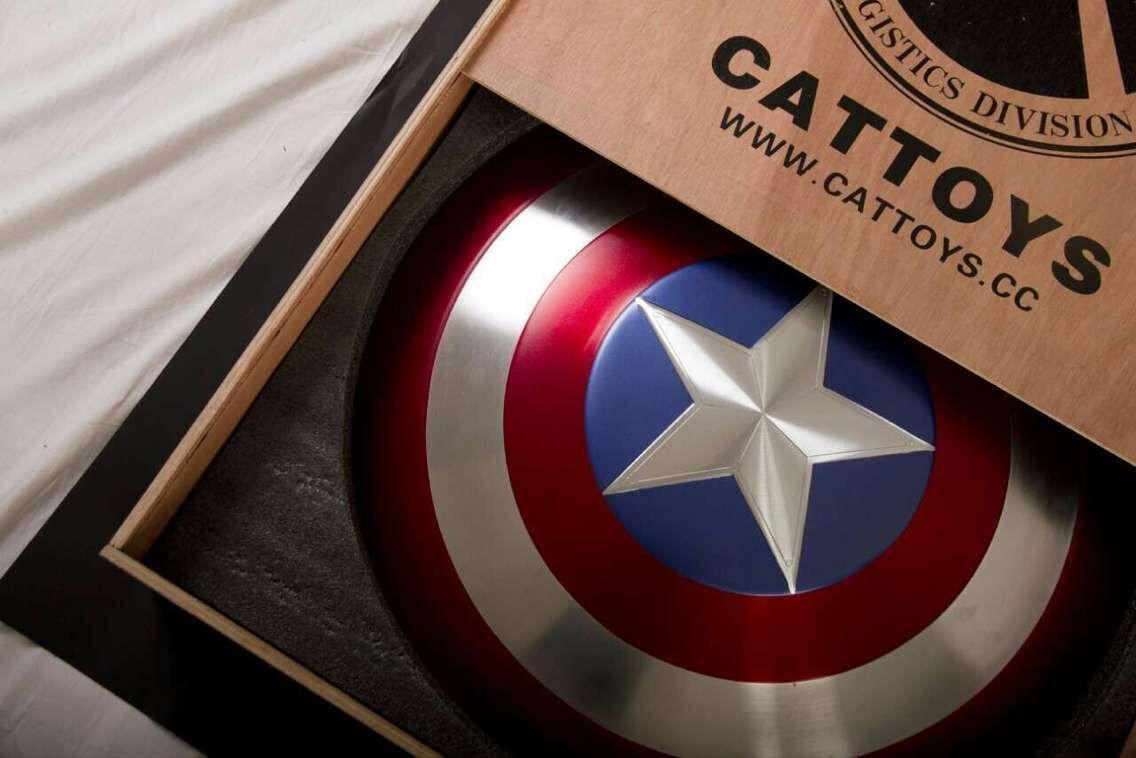 (sin Caja De Madera) cattoys 11 Capitán América Perfecto Escudo De Metal