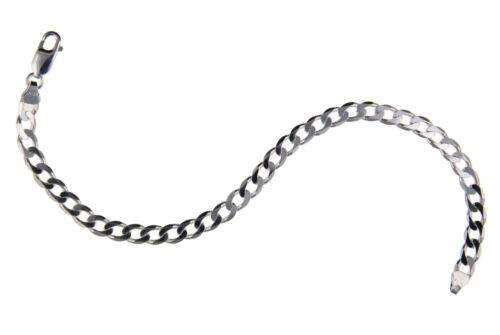 925 STERLING SILVER CURB BRACELET GENTS 6MM DIAMOND CUT D//C FLAT CHAIN LINK