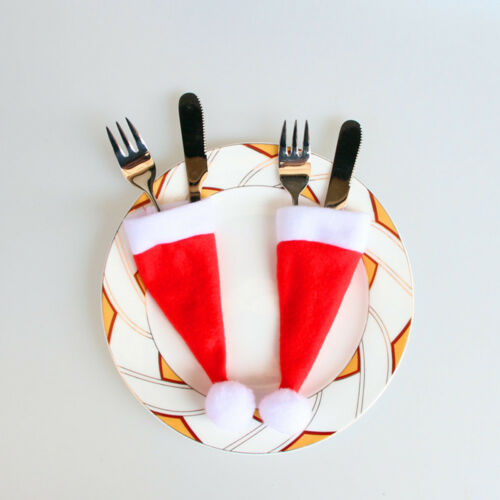 1PC//10PCS Christmas Caps Cutlery Holder Fork Spoon Pockets Christmas Table Bags