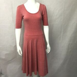 Lularoe-Small-Nicole-Dress-Short-Sleeve-Stretch-Solid-Red-Scoop-Neck