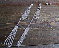 4.5 Extra Long Dangle Tassel Chain Rhinestones Earrings Set Fashion Jewelry