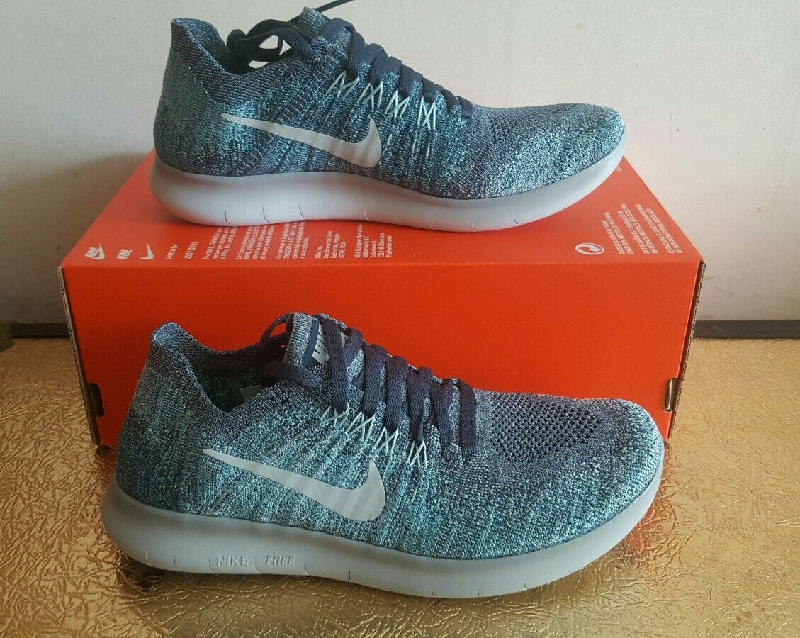 NIKE FREE SIZE RN FLYKNIT 2017 (GS)YOUTH SIZE FREE 3.5 EUR 36 (881973 402) BLUE/ GREY ca90e5