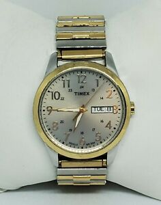 Mens-Timex-Indiglo-Two-Tone-Stainless-Steel-Expansion-Band-Quartz-Watch-A4