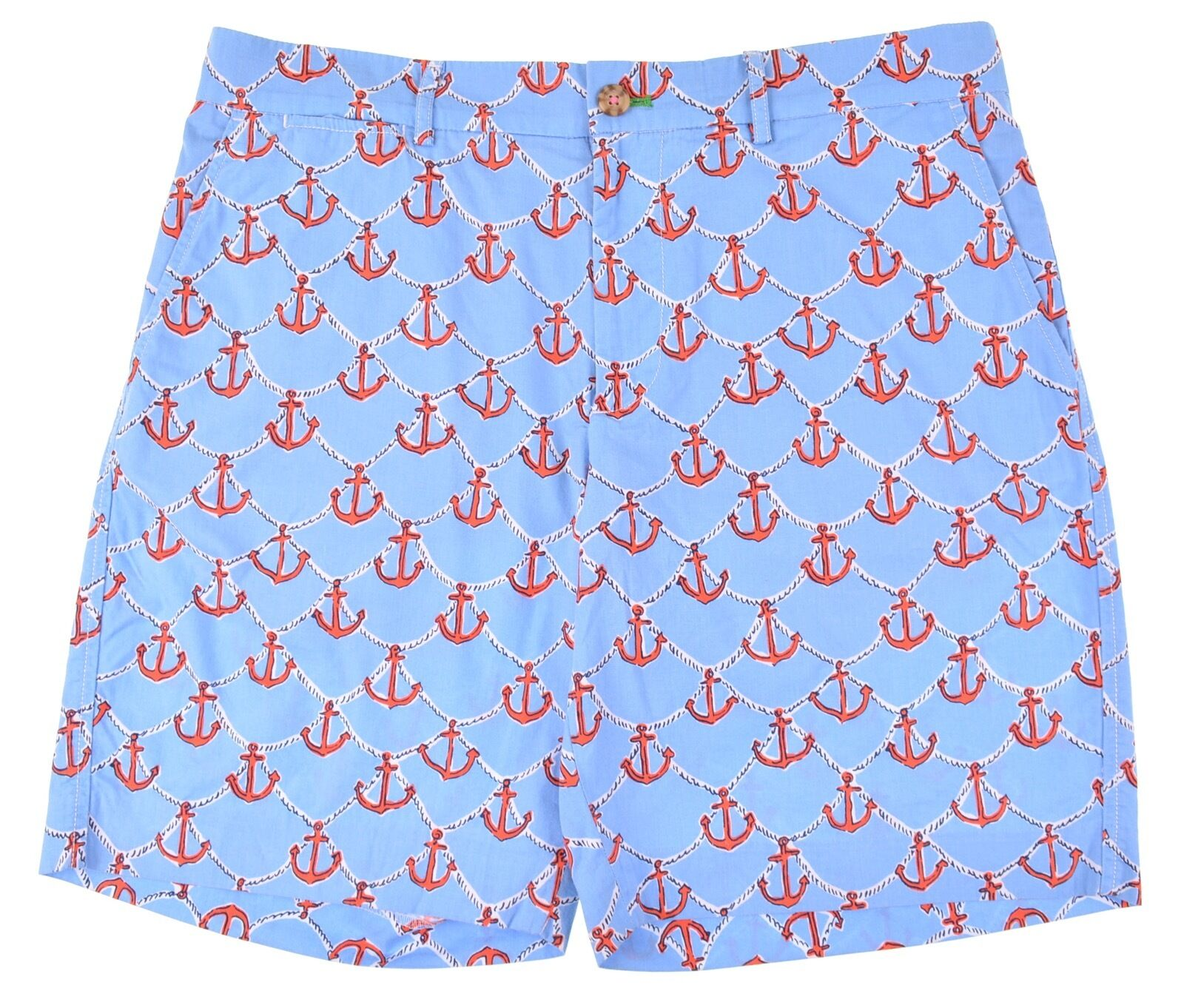 Lilly Pulitzer ANCHORS AWAY Limited RARE Print bluee Cotton Fitz Shorts 34