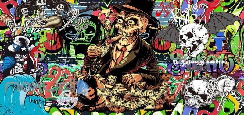3D Graffiti Mr. Skull Bat Wall Mural Wallpaper Art Decals Prints Decor