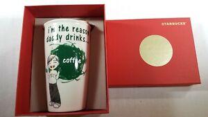 Starbucks Ceramic Travel Coffee Tumbler Mug Cup 12 oz White Paint Green Daddy