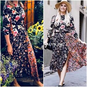 2b7a965c Image is loading RARE-NWT-ZARA-SS18-FLOWING-LONG-PATCHWORK-PRINT-