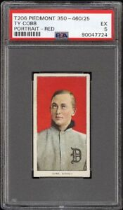 Very Rare 1909-11 T206 HOF Ty Cobb Red Portrait Detroit PSA 5 EX HIGH END
