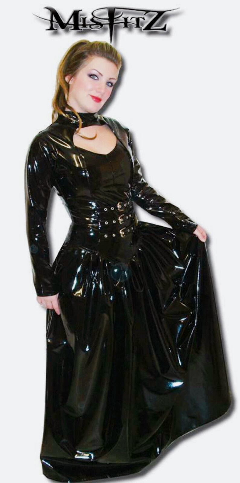 Misfitz schwarz pvc buckle gothic ballgown, Größes 8-32 made to measure goth TV CD