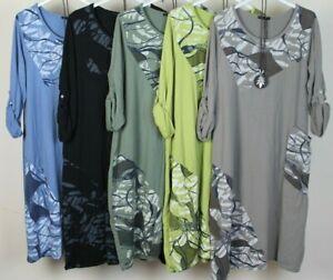 Nouveau-Femmes-Italien-Lagenlook-Quirky-Imprime-Panneau-Insert-Coton-Robe-Tunique